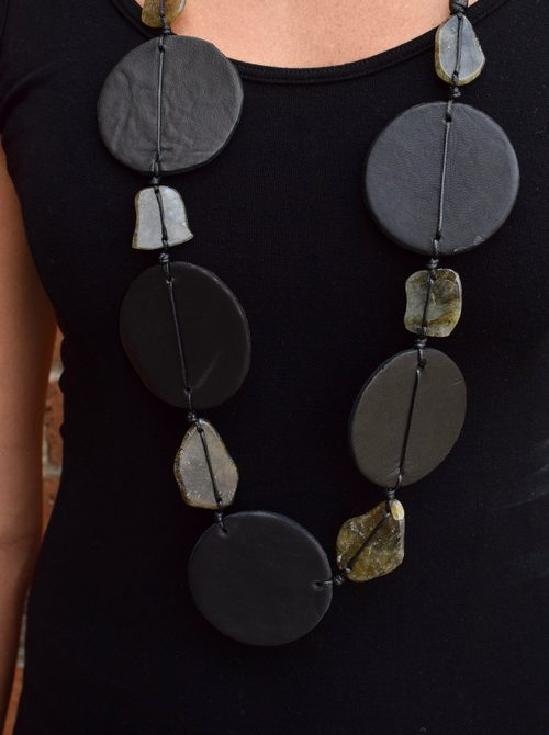 Dara Disk and Stone Necklace