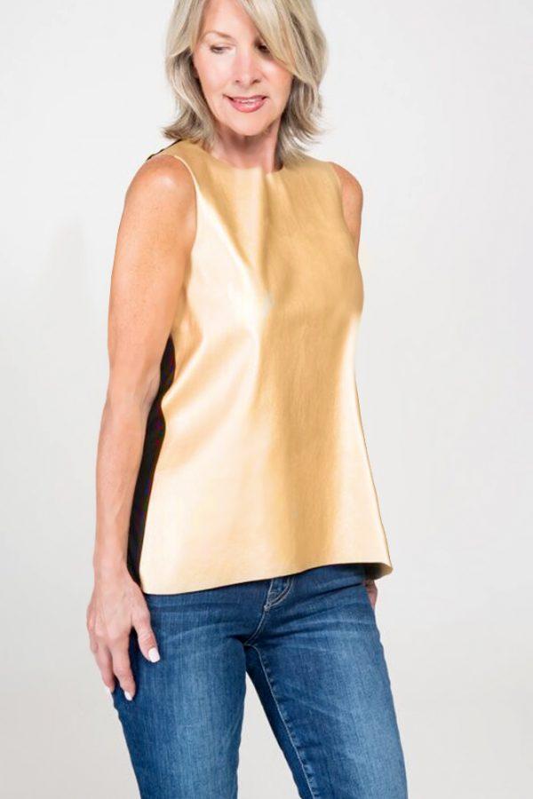 vegan gold leather top