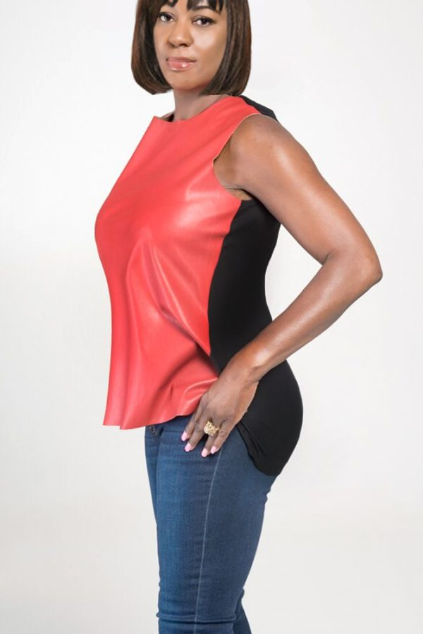 womans red leather top sleeveless