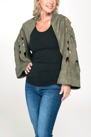 olive green top vegan suede shrug