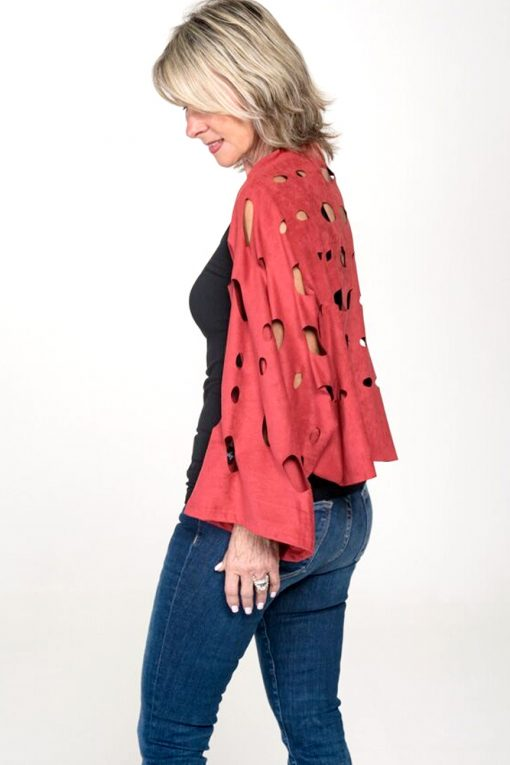 womens suede top red