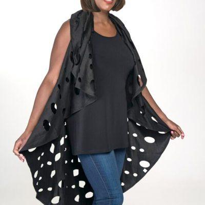 womens black duster vest