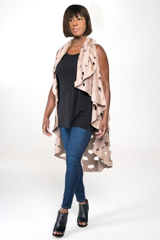 womans suede duster tan