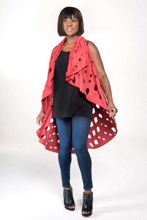 womans red duster mid length top