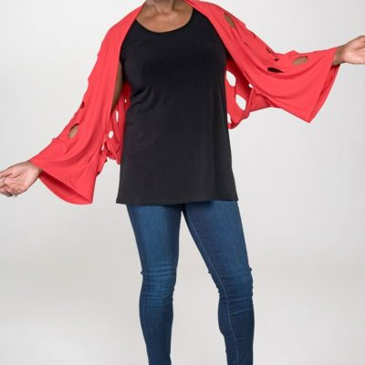 women's tops red shrug sweater