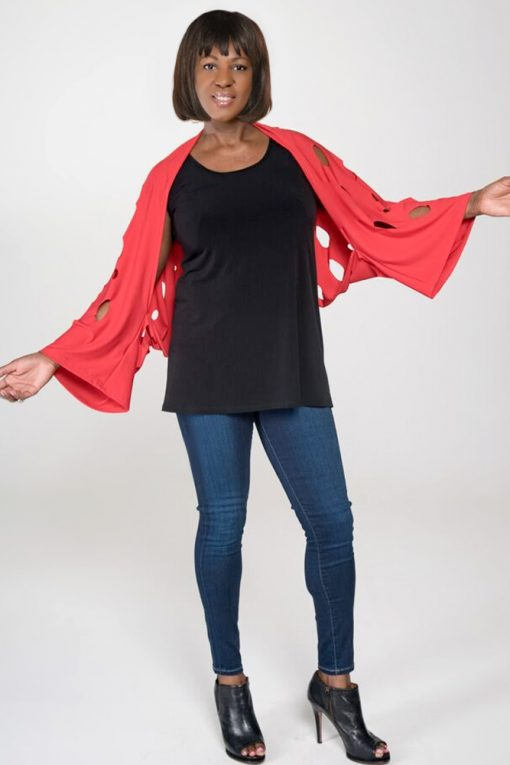 women's tops red shrug sweater