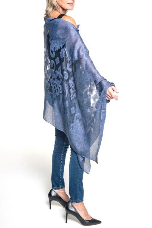 blue poncho sheer eveningwear