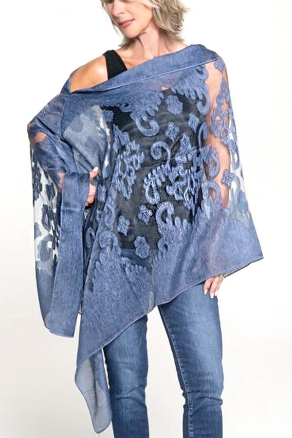 blue sheer poncho womans top