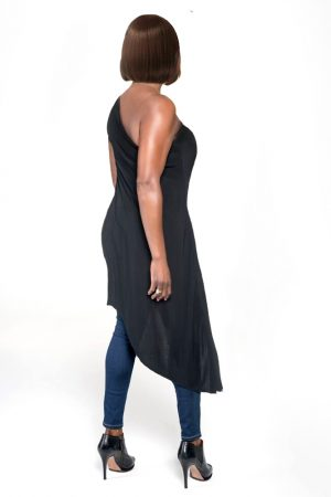 black angle dress one shoulder